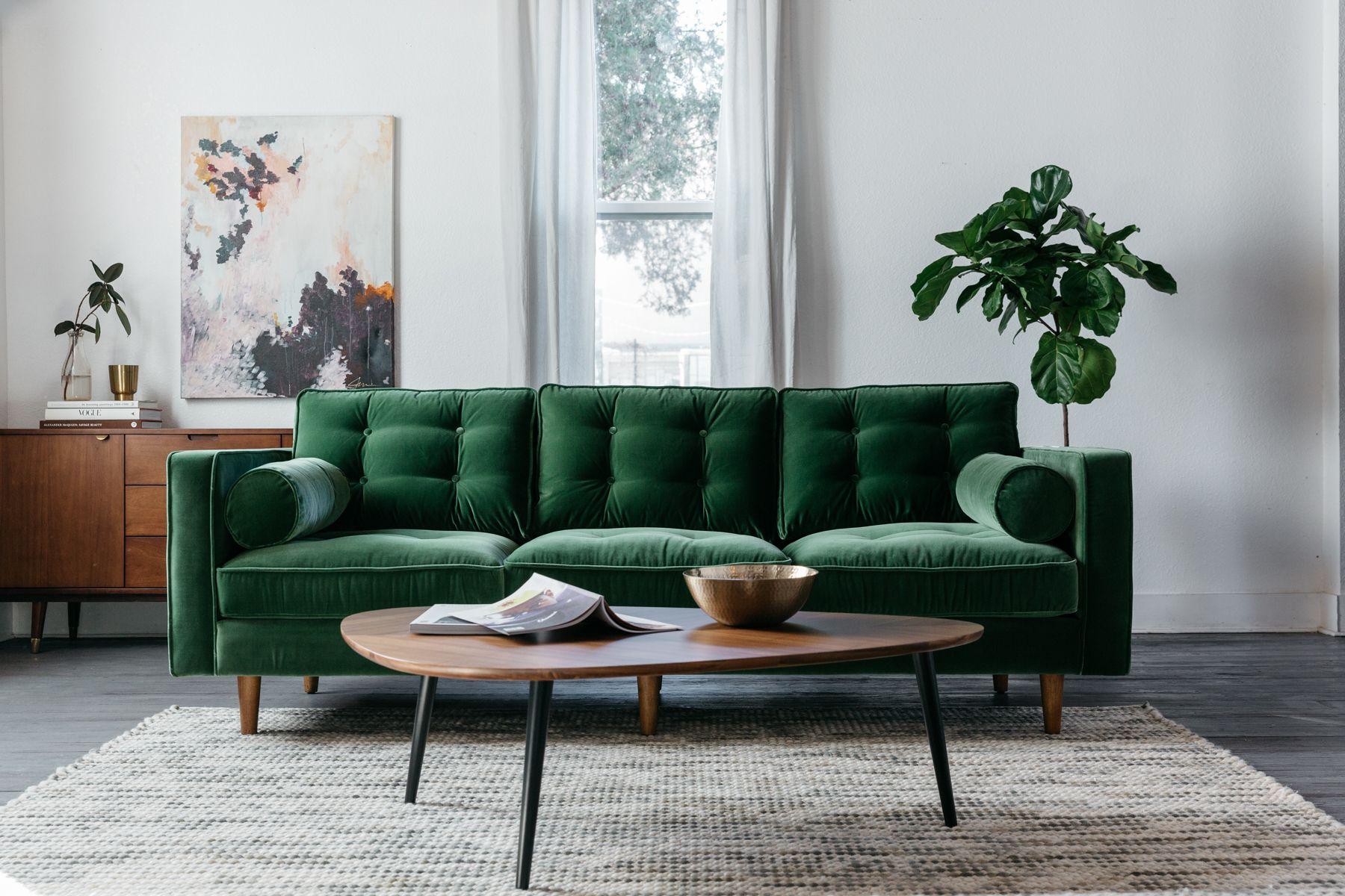 Danell cotton grass green velvet sofa mid century modern sofa