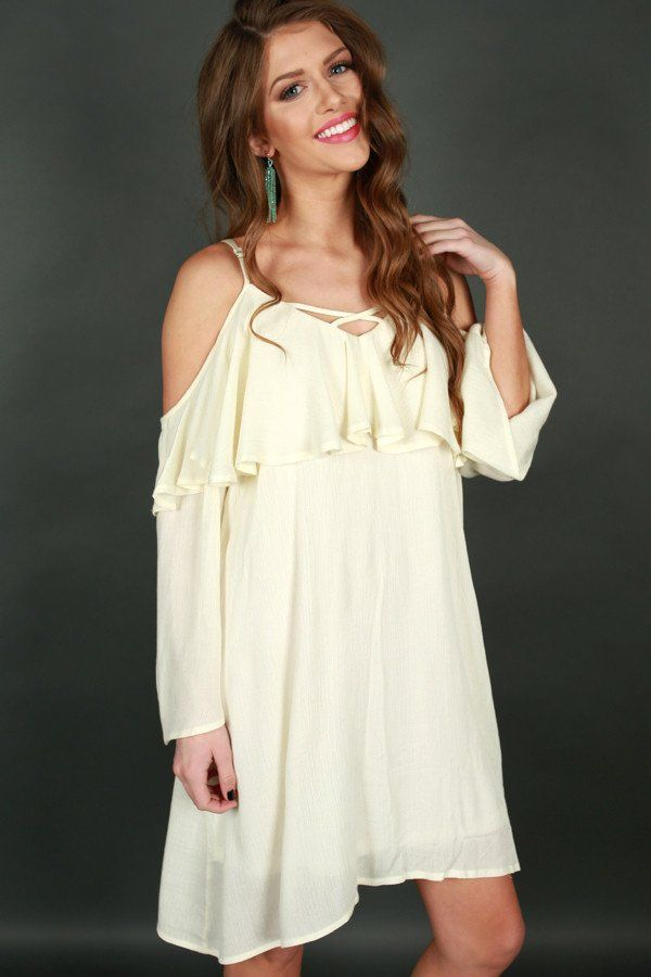 da31b6eb75bb Escaping Reality Cold Shoulder Dress in Cream