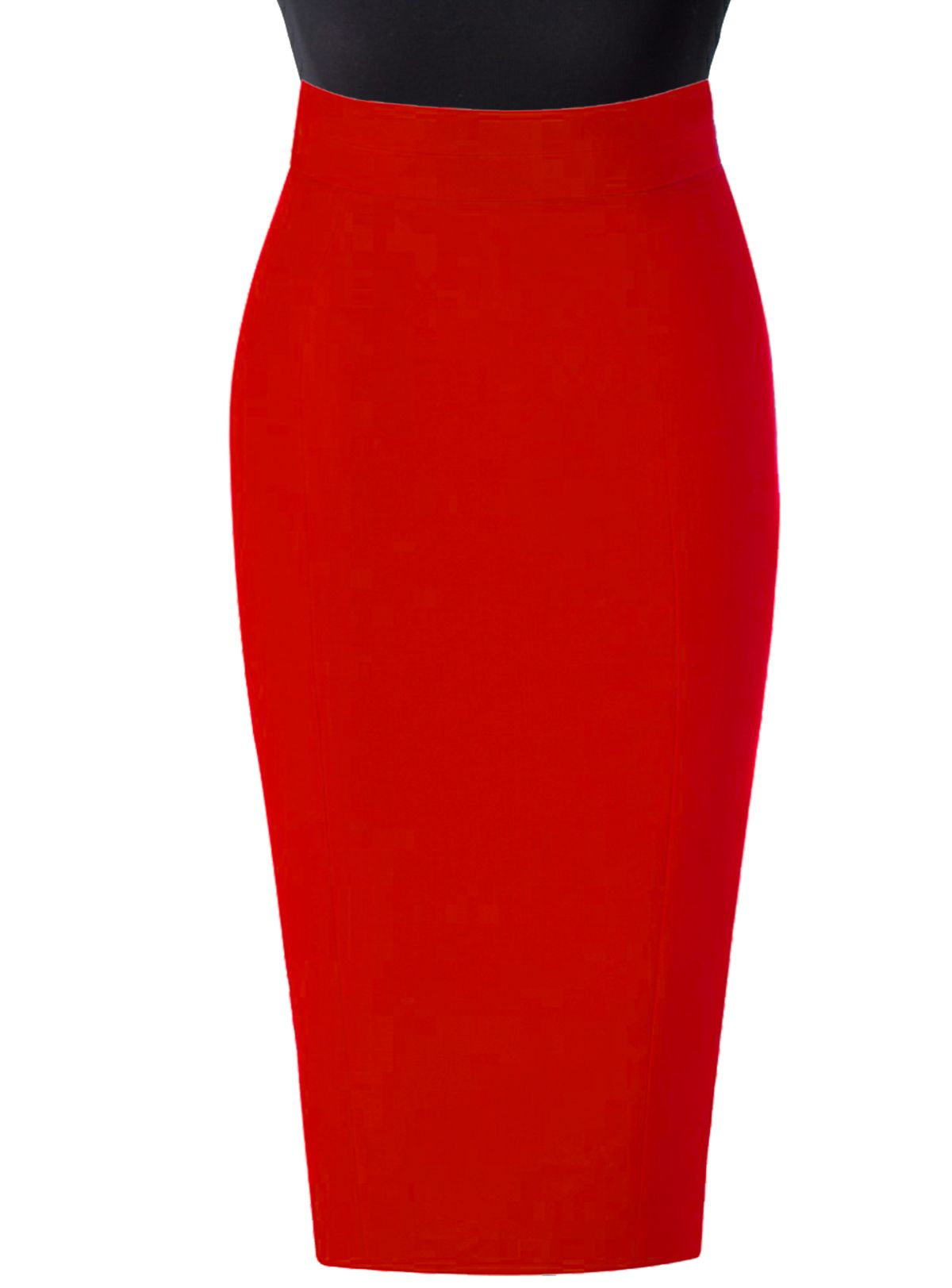 Red Linen High waist pencil skirt | Elizabeth's Custom Skirts ...