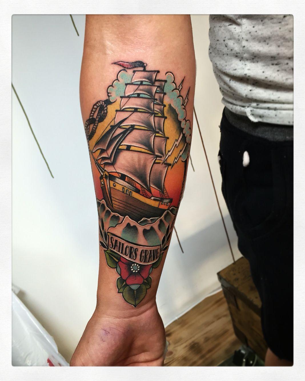 Neo Traditional Ship Tattoo : traditional, tattoo, Traditional, Pirate, #tattoo, #neotraditional, #neotraditionaltattoo, #neotradsub, #shiptattoo…, Sleeve, Tattoos,, Tattoo,, Tattoo