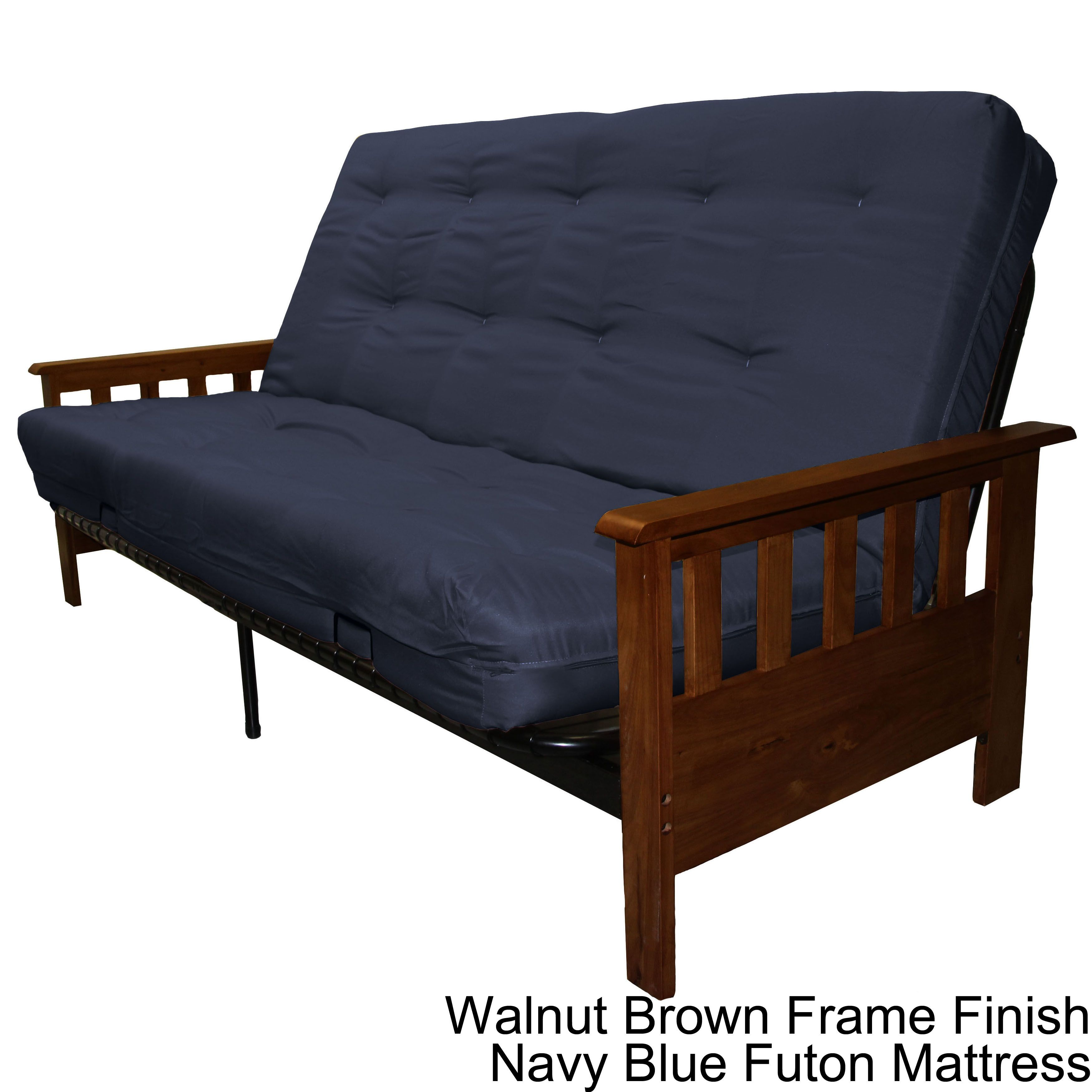 queen size futon frame convertible sofa bed epic provo queensize missionstyle frame mattress futon set walnut brown frame finish with navy blue queen mattress