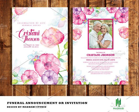Funeral Announcement or Invitation Template and Card templates - funeral invitation cards
