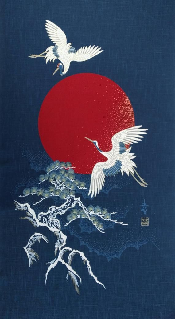 New Japanese cotton Noren quilting panel cloth - flying cranes, moon and tree