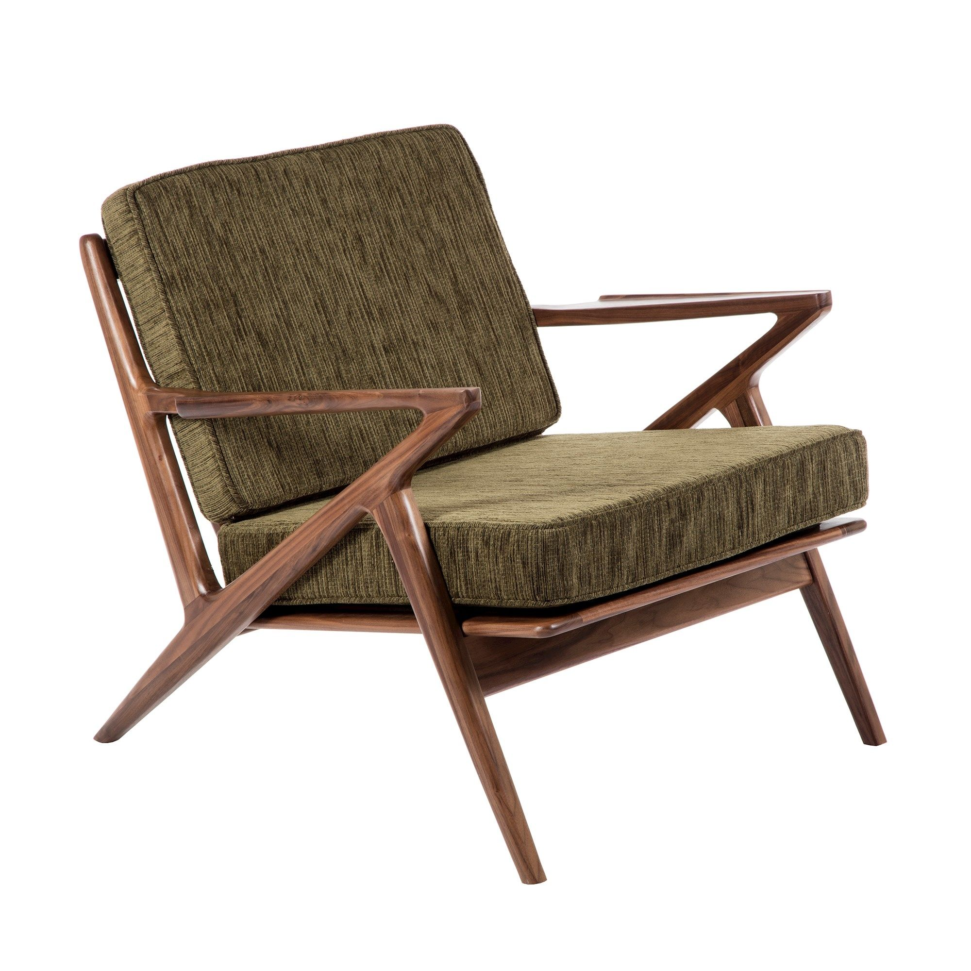 Forza Lounger Chair In Walnut Frame Olive Fabric Chair Cheap