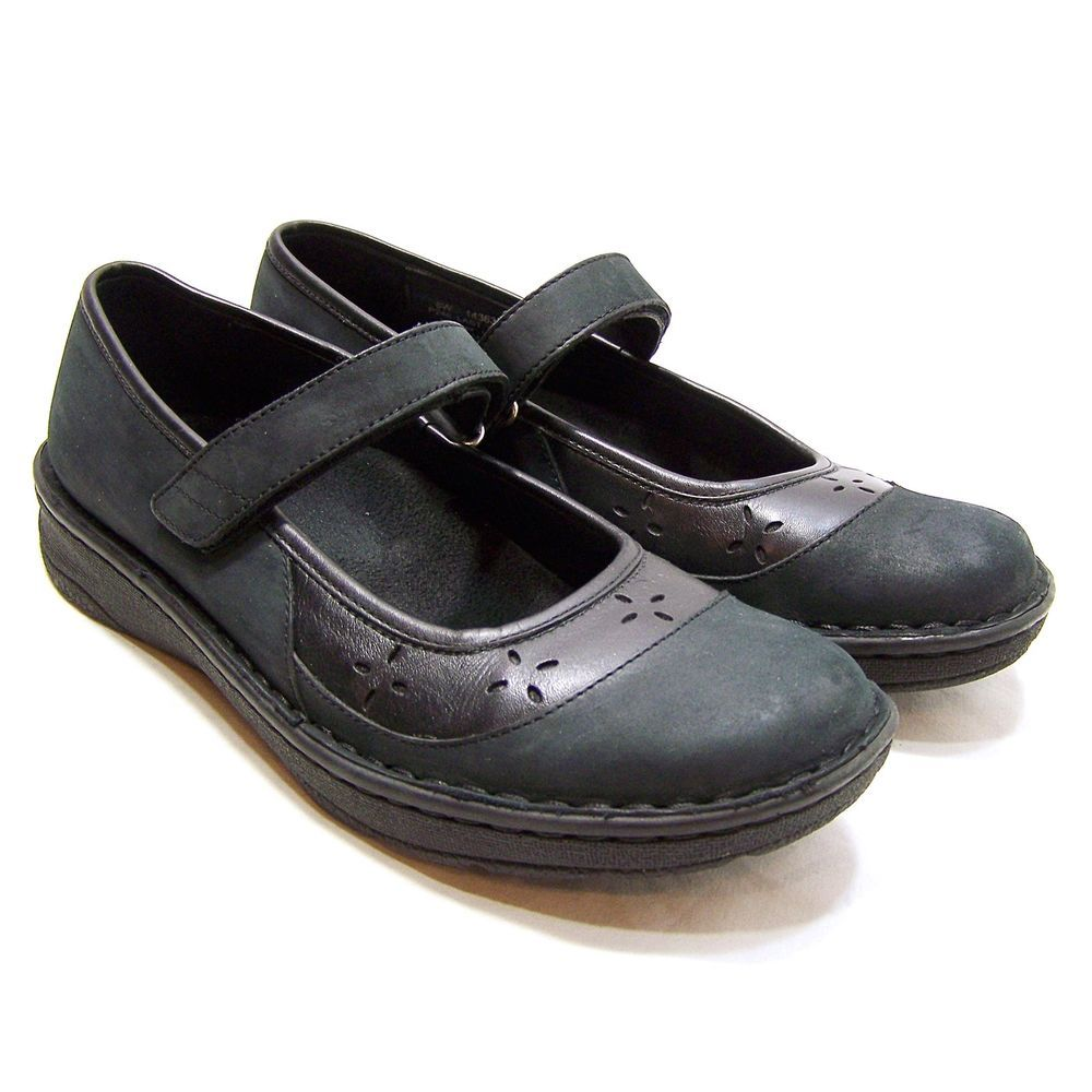 DREW Black Leather Mary Janes Velcro Orthopedic Shoes Size 8 W Comfort Work  #Drew #