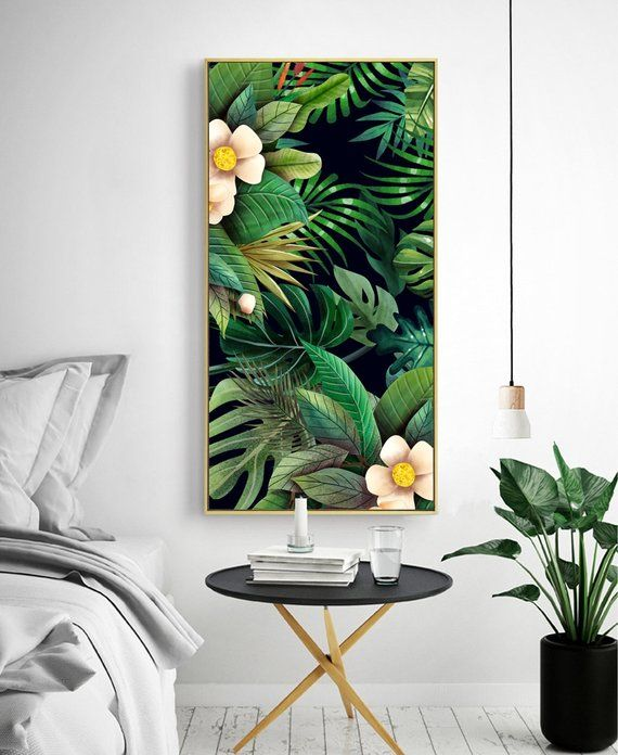 2 Panel Tropical Leaves And Floral Extra Large Canvas Print Art Framed Print Multiple Canvas Wa Wall Art Canvas Painting Leaf Wall Art Tropical Wall Covering