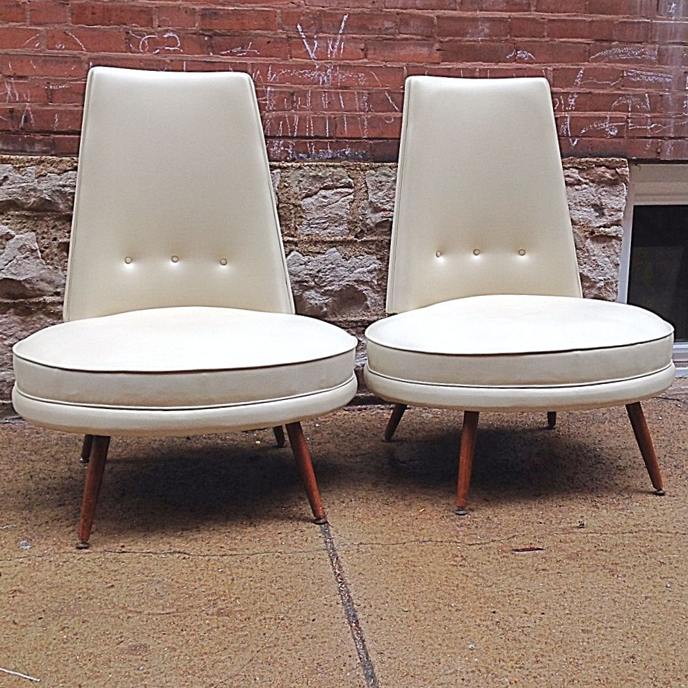 Mid Century Modern High Back Slipper Chairs Pair   Amazing Mid Century High  Back Oval Seat Slipper Chairs With Eggshell Colored Vinyl Upholstery.