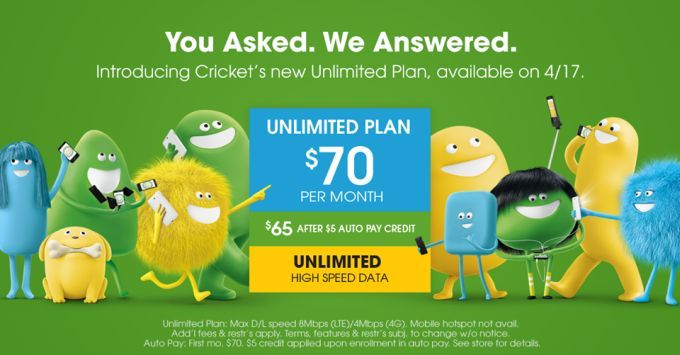 Cricket Wireless Offers Unlimited Data For 70 Per Month Cricket Wireless Unlimited Data Data