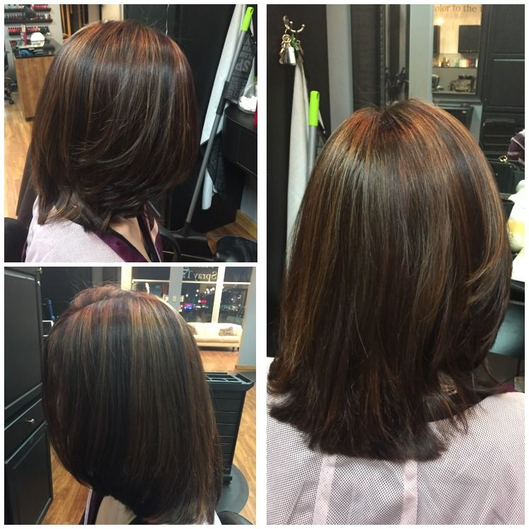 Mocha and Caramel Highlights over Dark Brown Hair