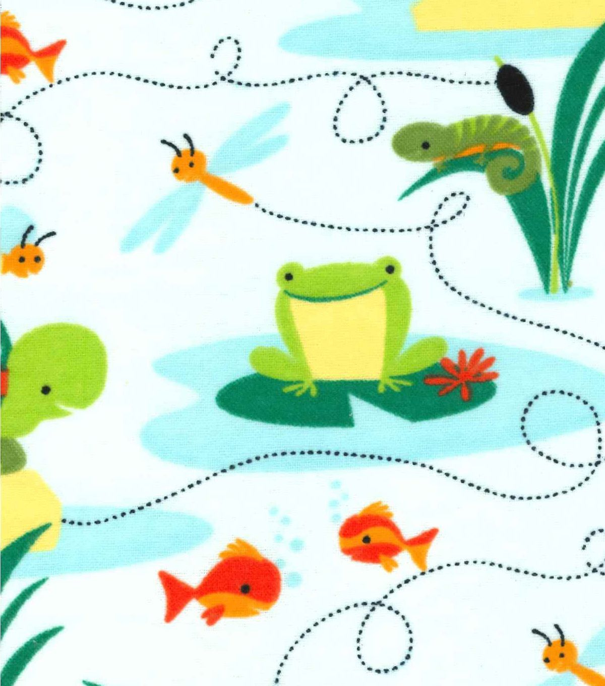 Snuggle Flannel Fabric Turtles And Frogs