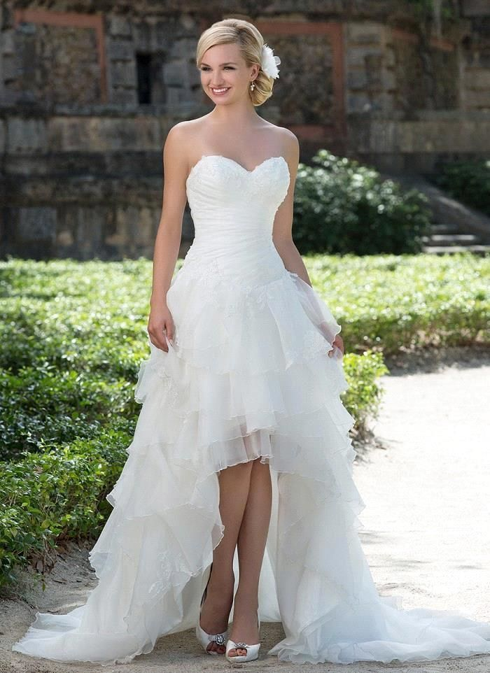 Directly From China Dress Skull Suppliers Robe De Mariage Sexy Backless High Low Wedding Dresses Romantic Organza Short Front Long Back