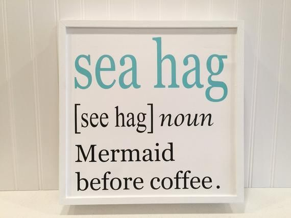 Coastal kitchen sign, mermaid sign, coffee bar sign, mermaid decor, coffee lover gift, beach house decor, mermaid gift, funny coffee sign sea hag sign FREE SHIPPING! * This whimsical sea hag/mermaid sign will make you smile every time you see it! Its crisp, clean colors are a great coastal accent #mermaidsign Coastal kitchen sign, mermaid sign, coffee bar sign, mermaid decor, coffee lover gift, beach house decor, mermaid gift, funny coffee sign sea hag sign FREE SHIPPING! * This whimsical sea ha #mermaidsign