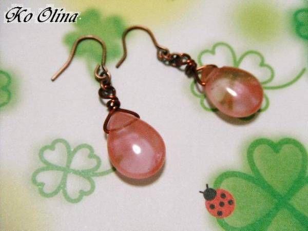 シンプルピアスチェリークォーツ平ドロップ ハンドメイド Handmade earrings ¥340円 〆03月25日