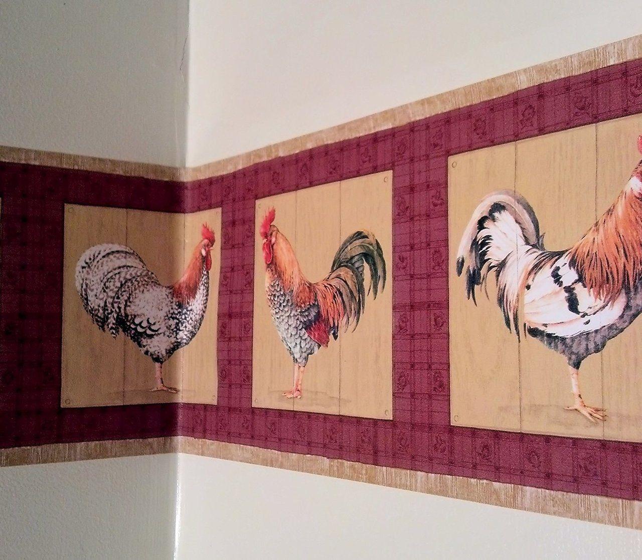 Rooster Farming Farm Country Barnyard Animal Wallpaper Border Red Wallpaper Border Animal Wallpaper Country Decor Diy