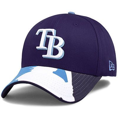 online store e1e34 079d5 Tampa Bay Rays New Era Swing Batter 39THIRTY Flex Hat - Navy Light Blue