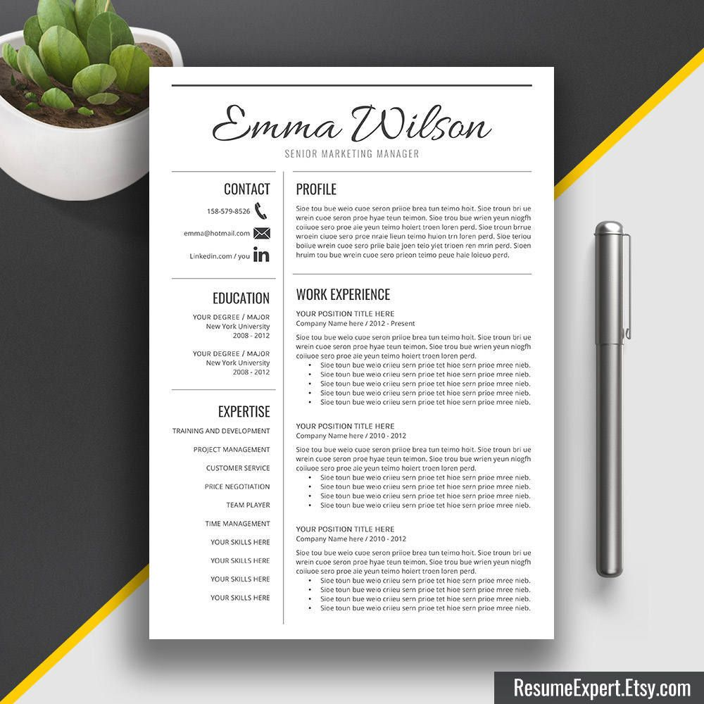Professional Resume Template Word CV Template Free Cover | Three ...