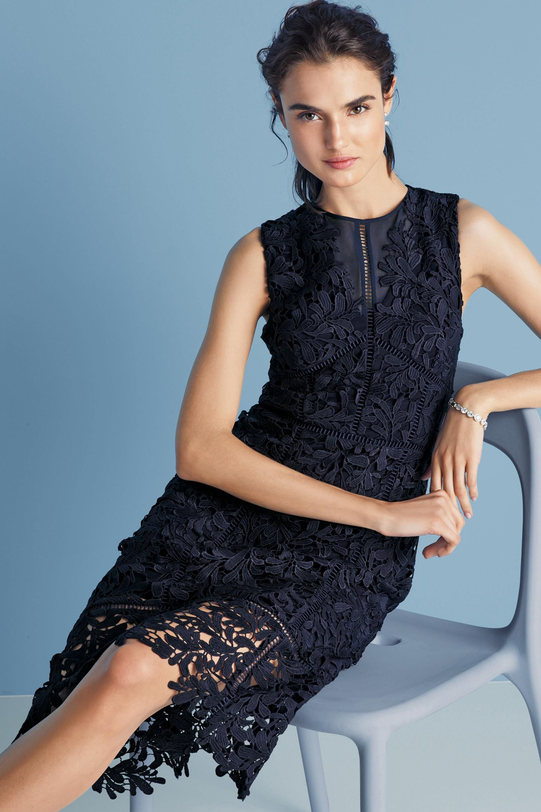 Buy Navy Leaf Lace Dress from the Next UK online shop | Вязание ...