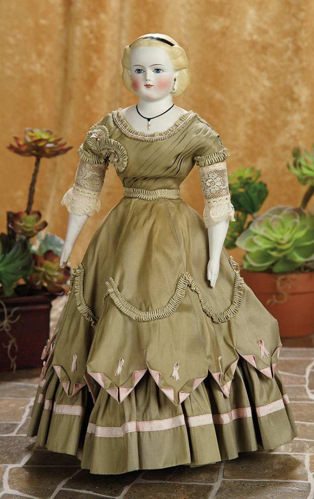 German Bisque Lady Doll, Painted Lashes, Sculpted Jewelry by Simon and Halbig 1800/2800