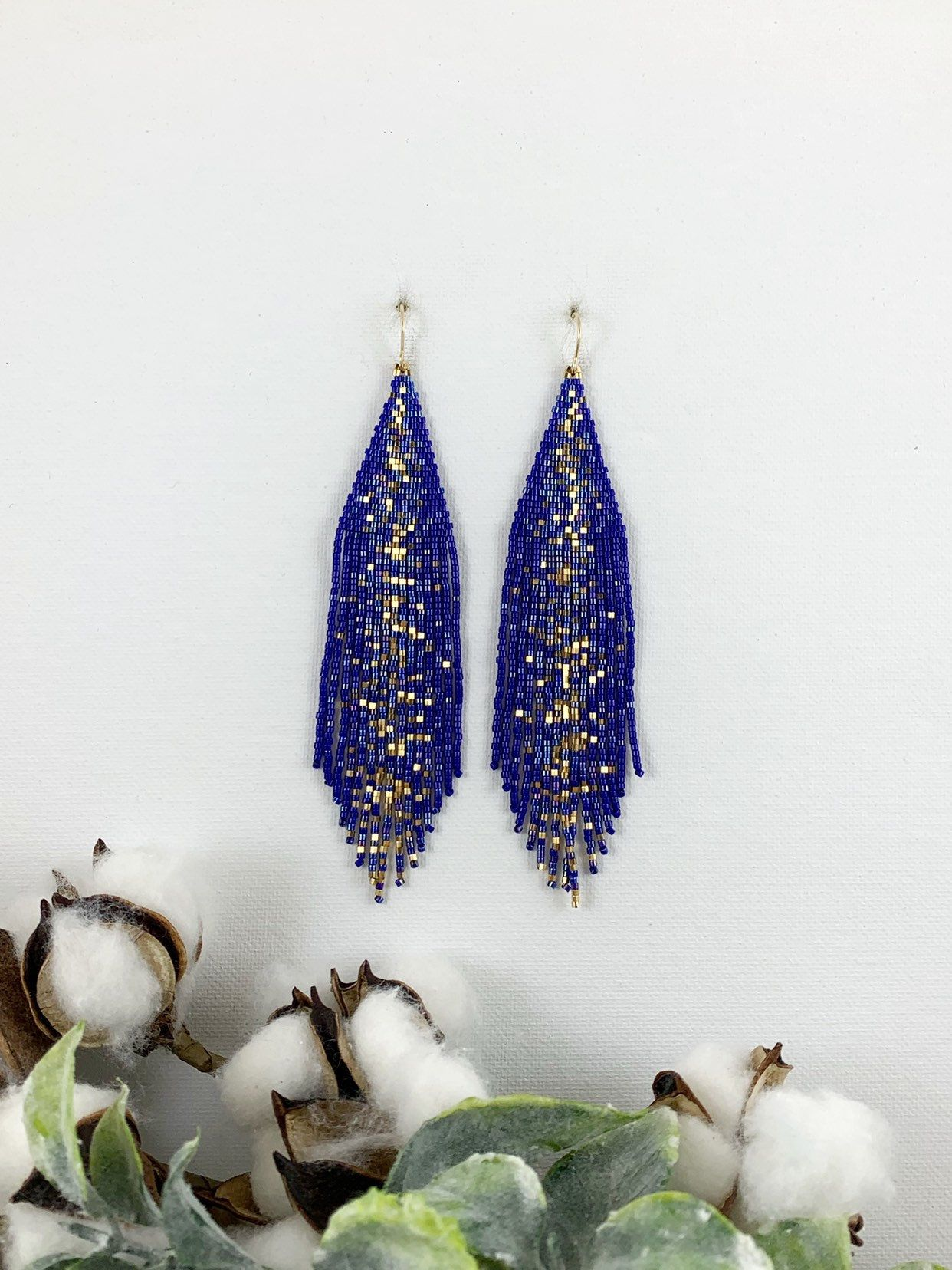 Pendientes con cuentas de galaxia azul y oro, pendientes de boho, pendientes de fiesta, regalo de Navidad para ella