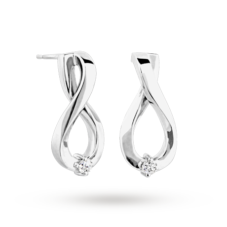 Canadian Ice Silver Diamond Figure Of 8 Earrings