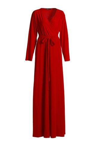 #RoseGal.com - #RoseGal V Neck 3 4 Sleeve Plus Size Solid Color Dress - AdoreWe.com