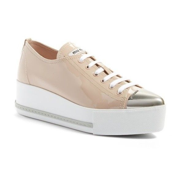 Women's Miu Miu Platform Pointy Cap Toe Sneaker ($650) ❤ liked on Polyvore featuring shoes, sneakers, beige patent, braid cap, miu miu shoes, metallic sneakers, sport caps and sports shoes