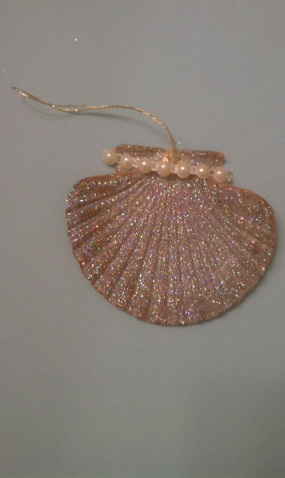 Irish Flat Seashell . Seashell Souvenir Gift . Glitter . Sparkling . Beach Decor . Elegant . Nautical Centerpiece . Wall Decor