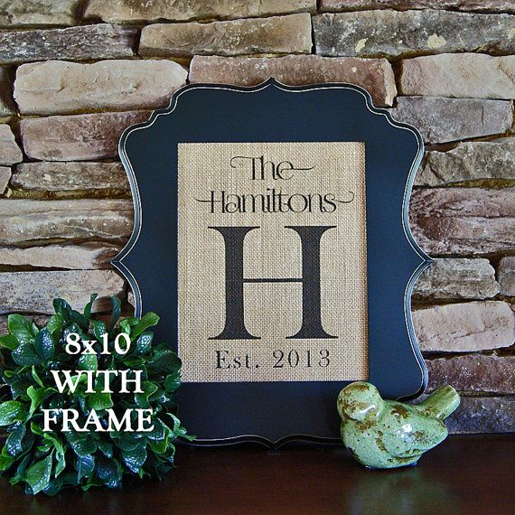 Personalized Burlap Print with Frame Included - Family Name Burlap Sign, Established Date - Wedding Gift, Housewarming Gift, Anniversary