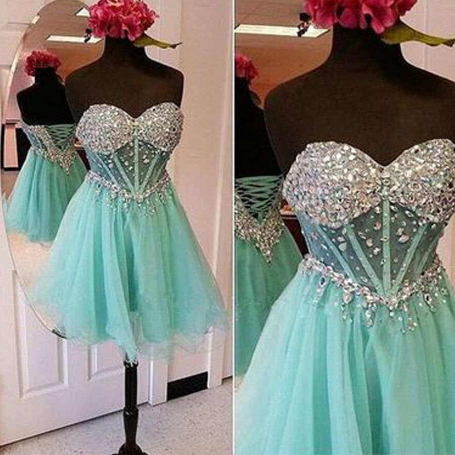 Strapless mint sparkly see through mini homecoming prom gown dresses ...