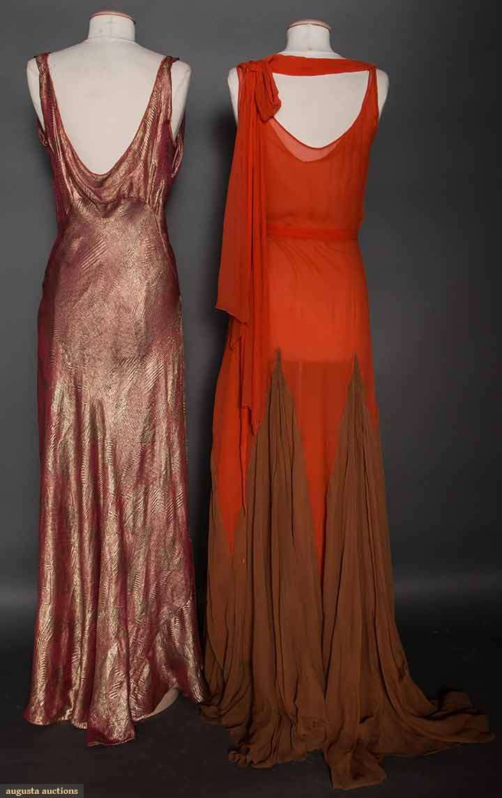 Two Coral Evening Gowns 1930s Back Views 1 Gold Deco