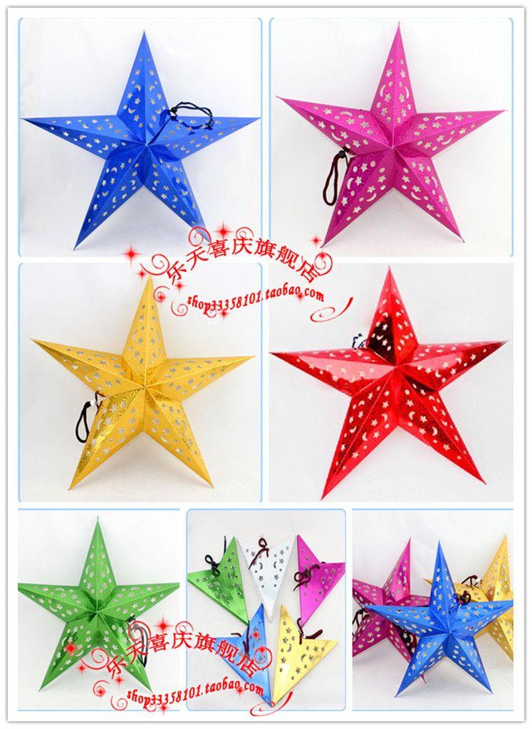 Free shipping wholesale Three-dimensional laser pentagram ceiling - wholesale christmas decor