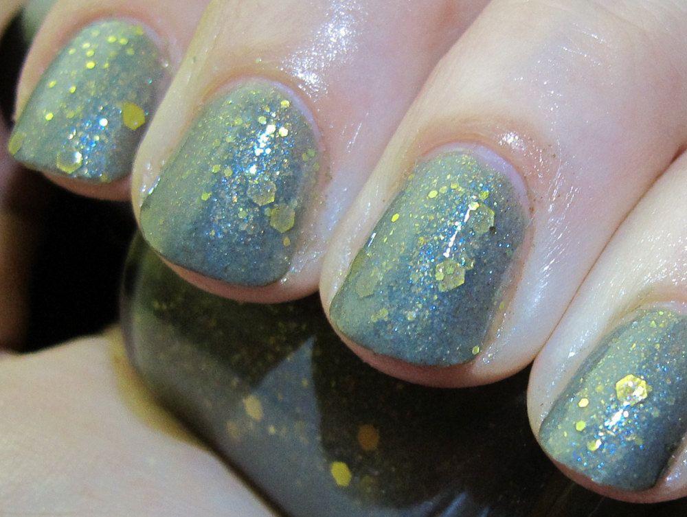 Misty Mountains Nail Polish - MINI - sage green with iridescent ...