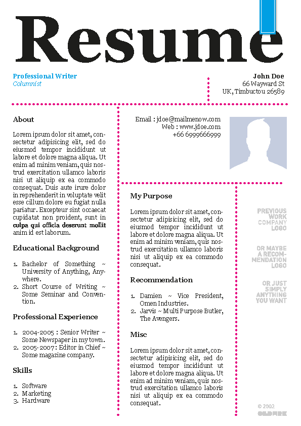 Newspaper Style Curriculum Vitae Template Example