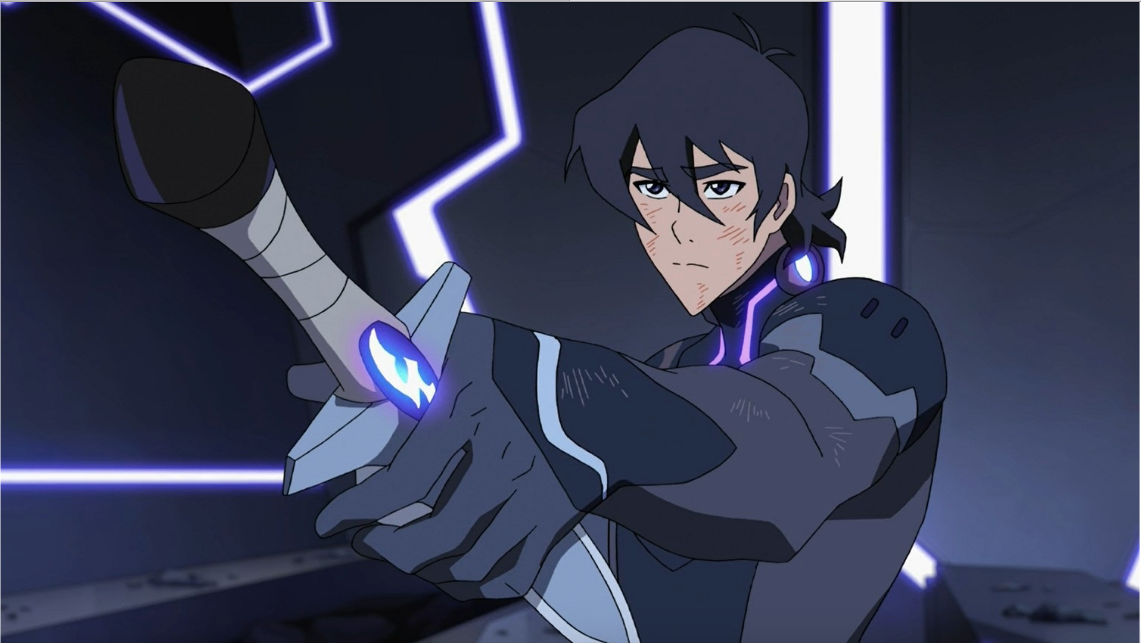 Keith in his Galra armor handing over his knife blade to the