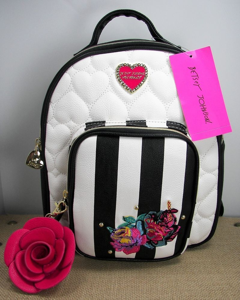 55d9727e18 Betsey Johnson Floral Embroidered Backpack Purse Quilted Hearts Black White   BetseyJohnson  Backpack