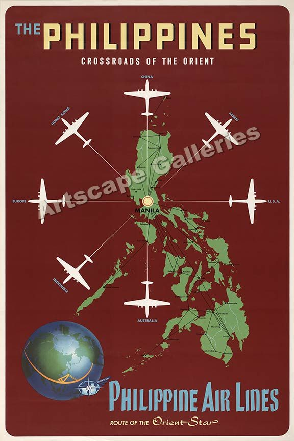 Details About 1950s Manila Philippine Airlines Orient Vintage Style Travel Poster 24x36