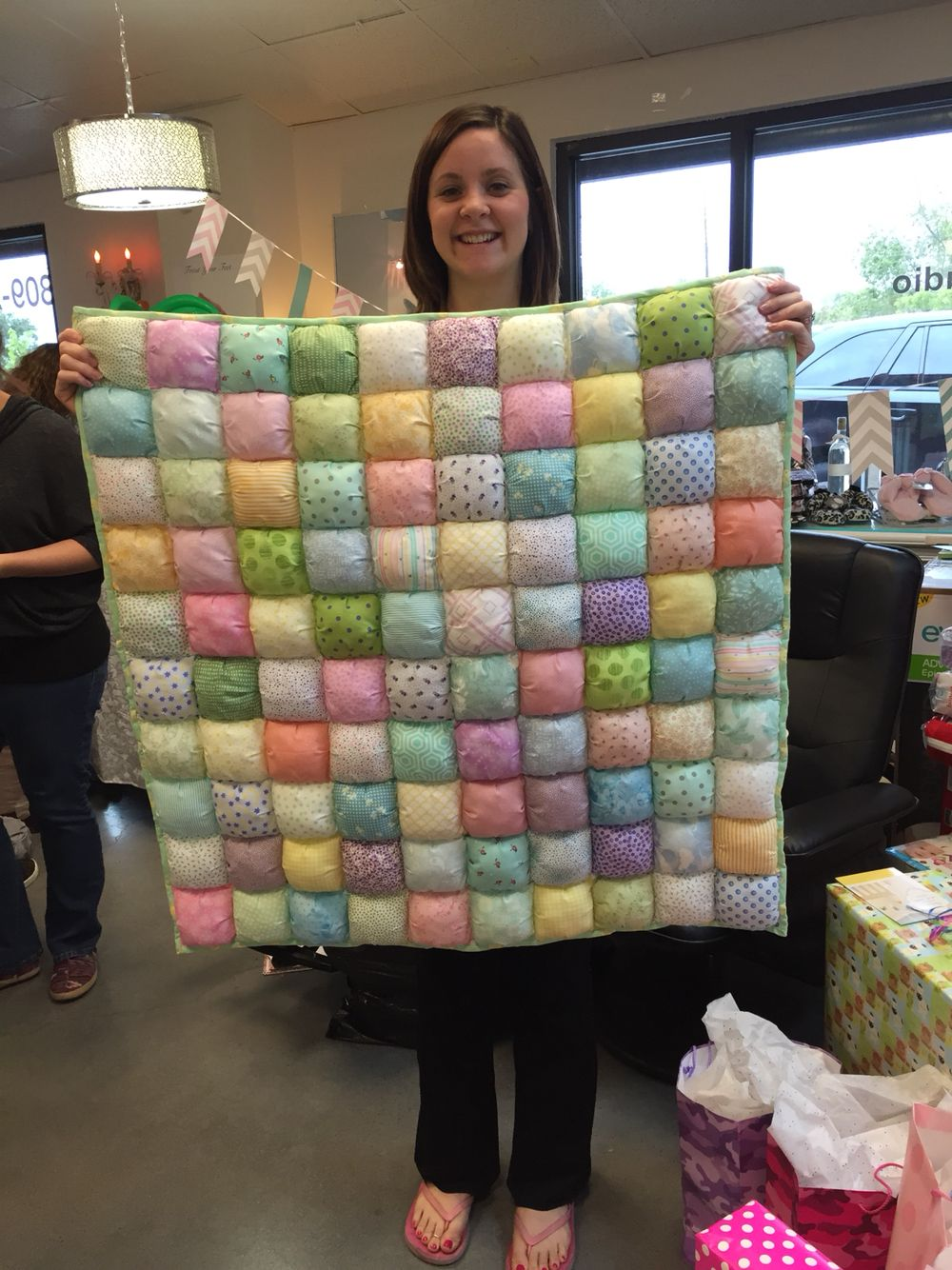 A baby's biscuit (or puff) quilt