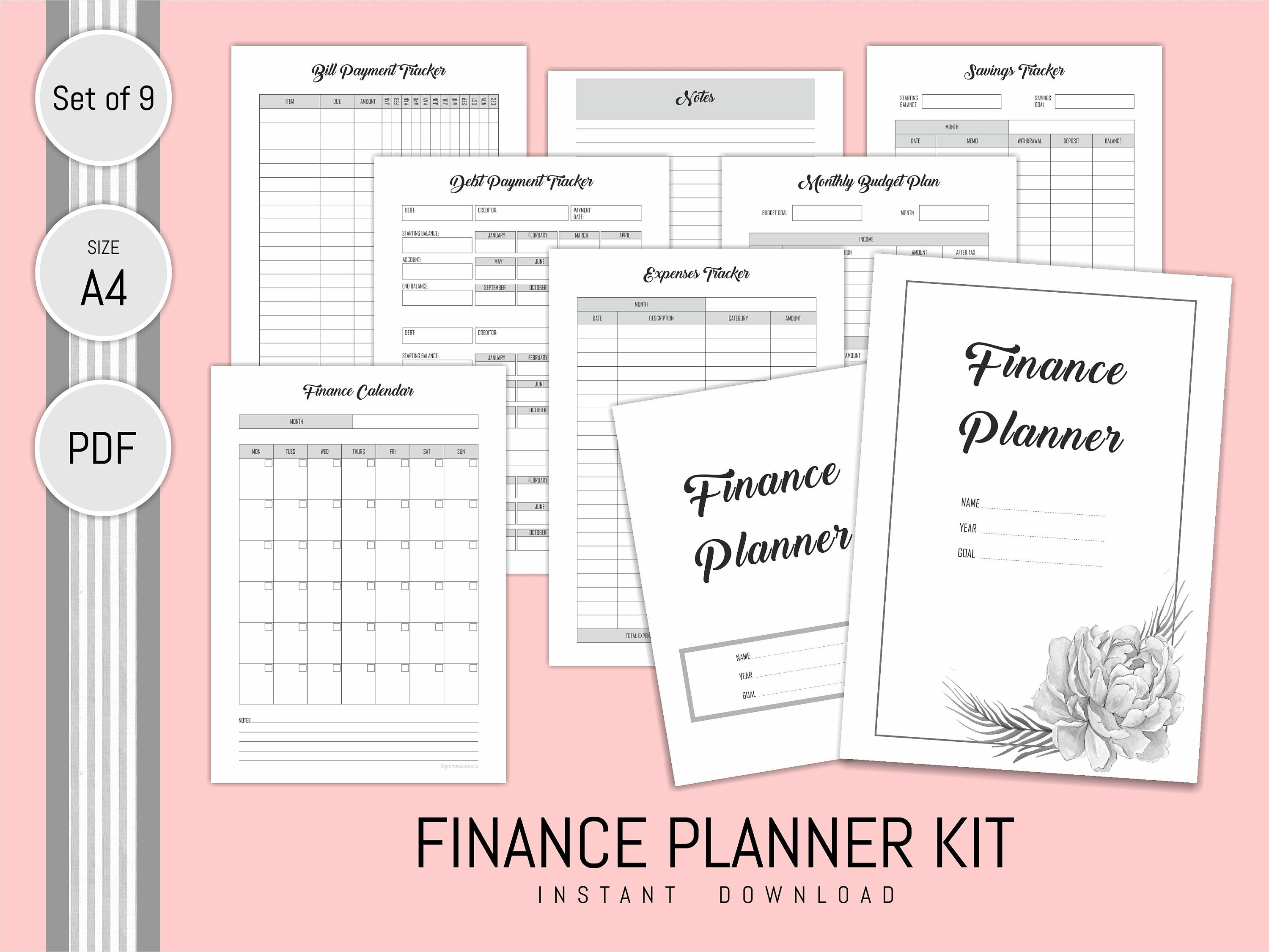 Finance planner printable expense tracker budget planner monthly finance planner printable expense tracker budget planner monthly saving debt bill payment tracker finance calendar home malvernweather Image collections