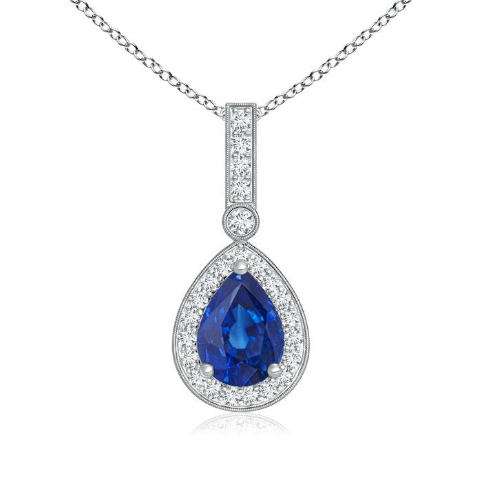 Angara Vintage Sapphire and Diamond Floral Halo Necklace in 14k White Gold RJirVB0