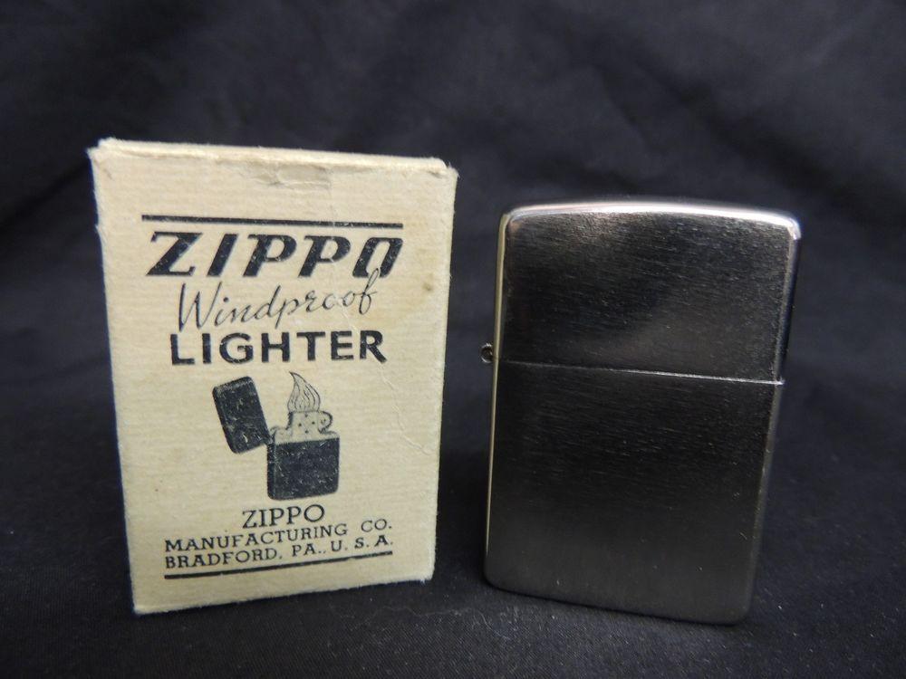 Vintage 1937 1950 Zippo Windproof Lighter With Original Box Pat 2032695