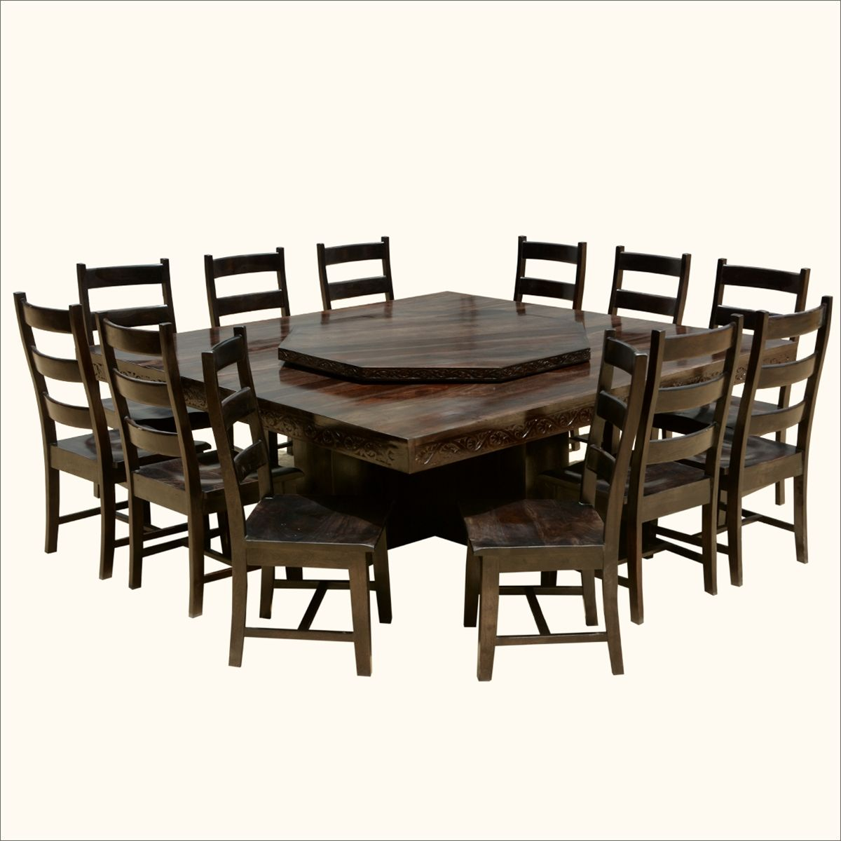 Modern Pioneer Solid Wood Lazy Susan Pedestal Dining Table & Chair