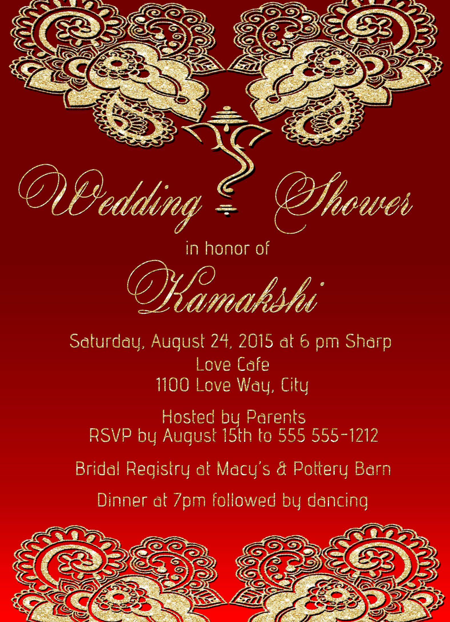 Mehndi Golden Dreams Bridal Shower Invitation-1 Sided · SCG Designs ...