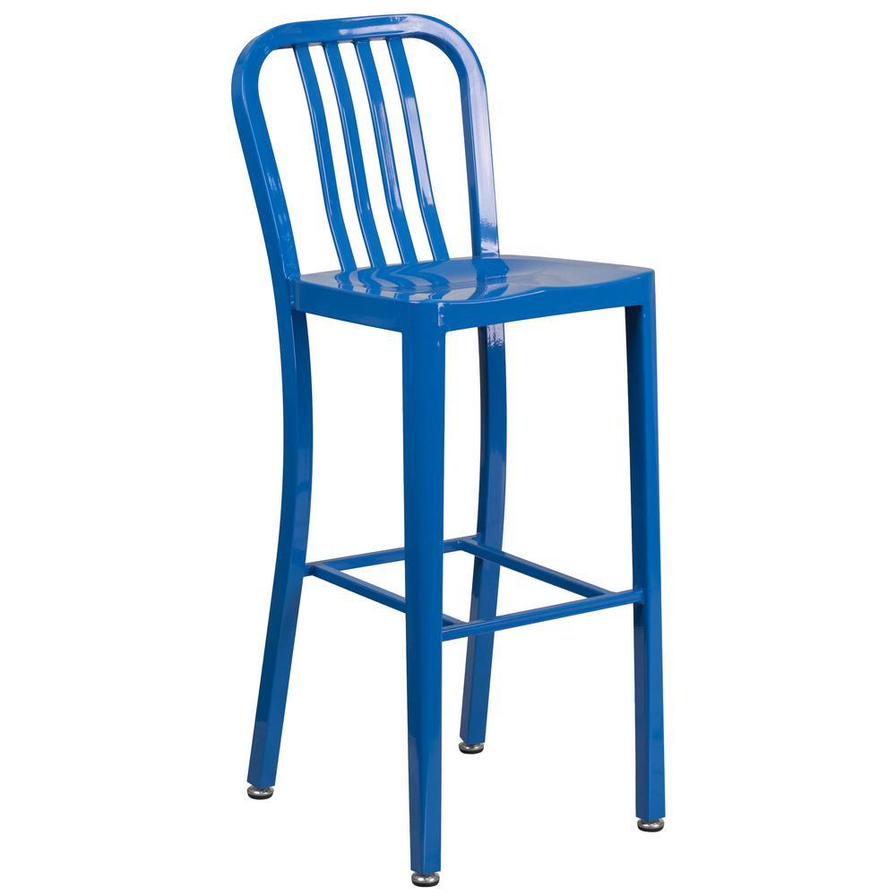 30 in. High Blue Metal Indoor-Outdoor Barstool with Vertical Slat Back