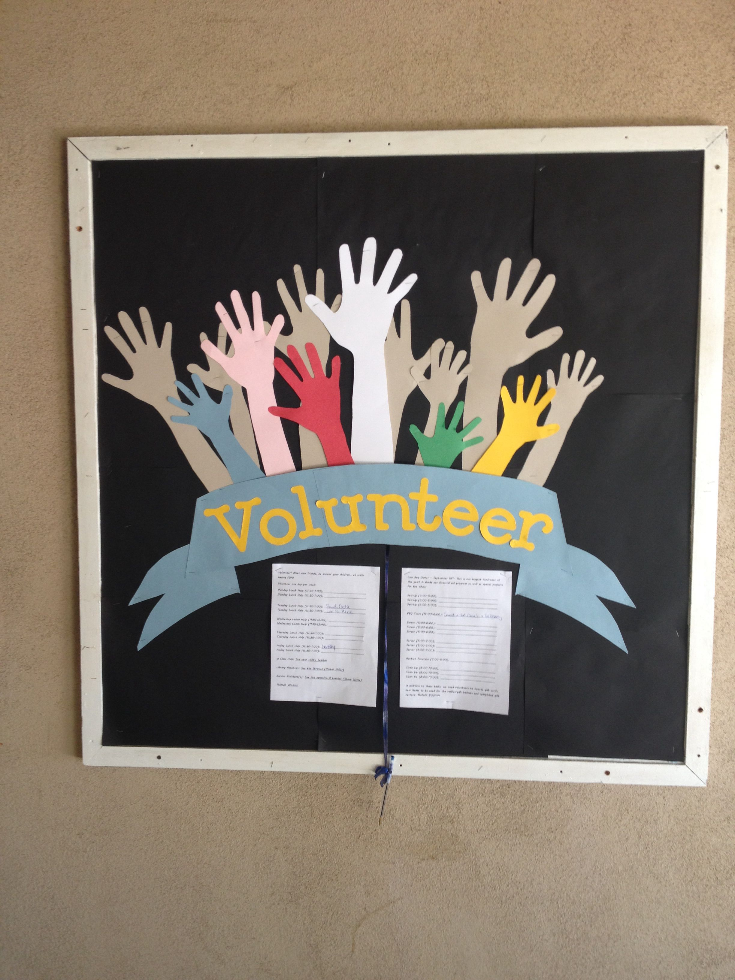 Youth Ministry Rooms: Volunteer Sign Up PTF (PTO) Bulletin Board For At School
