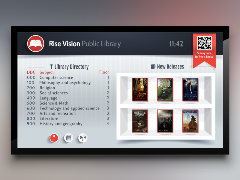 Library Template For Digital Signage Digital Signage Digital Signage Displays Signage