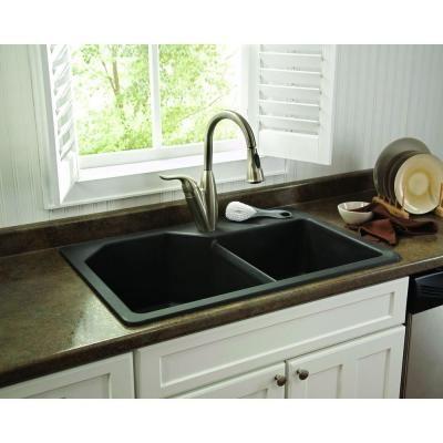 Pegasus Dual Mount Granite 33 In 1 Hole Double Bowl Kitchen Sink Metallic