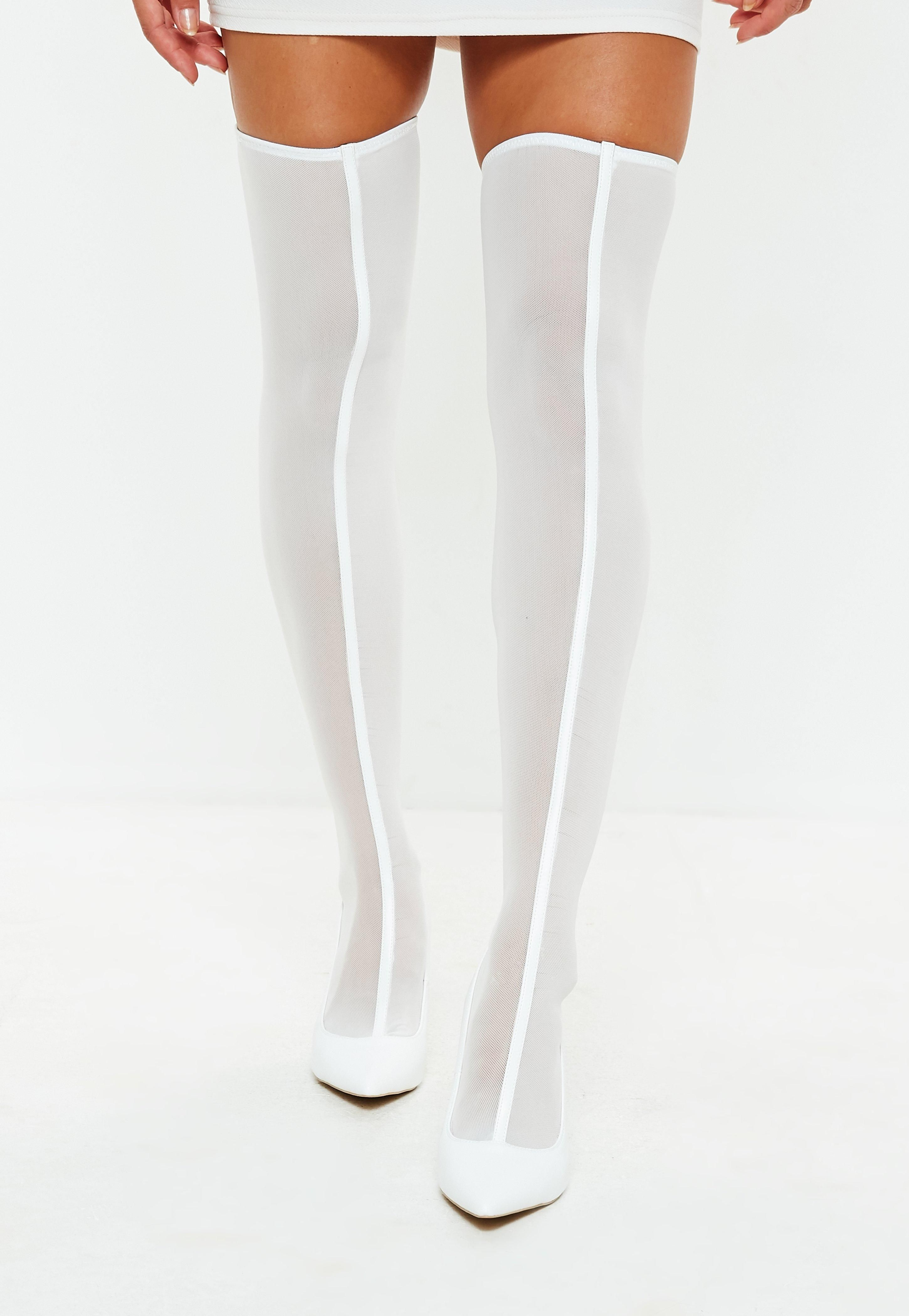 White Mesh Over The Knee Sock Boots Sponsored Mesh Affiliate White Knee Over The Knee Sock Boots Thigh High Sock Boots Socks And Heels