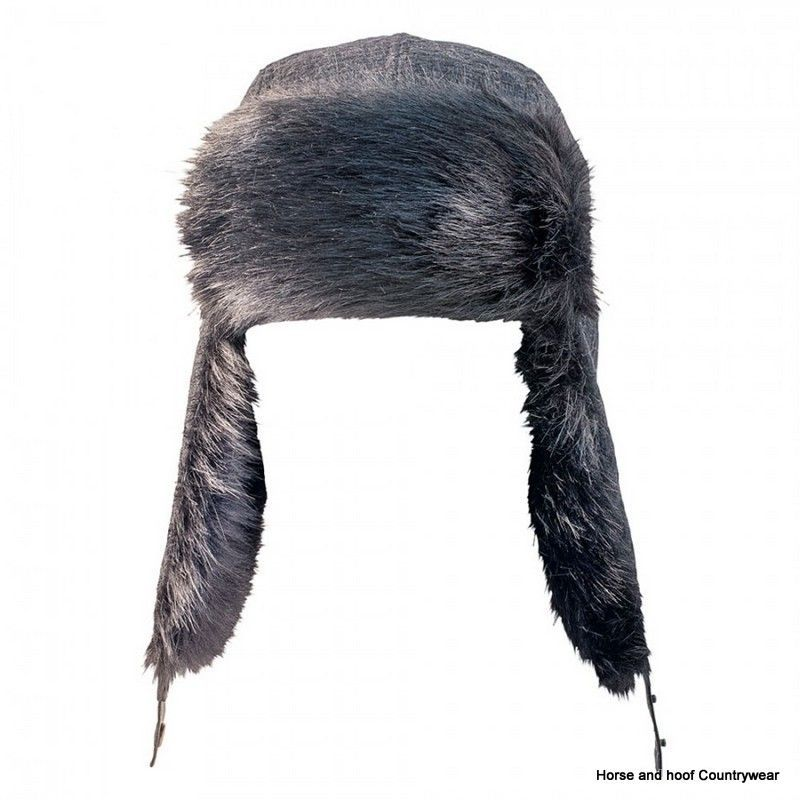 a4702cef6ce Heather Hats Tundra Faux Fur Lined Trapper Hat - Ebony Weave Black tweed  trapper hat with