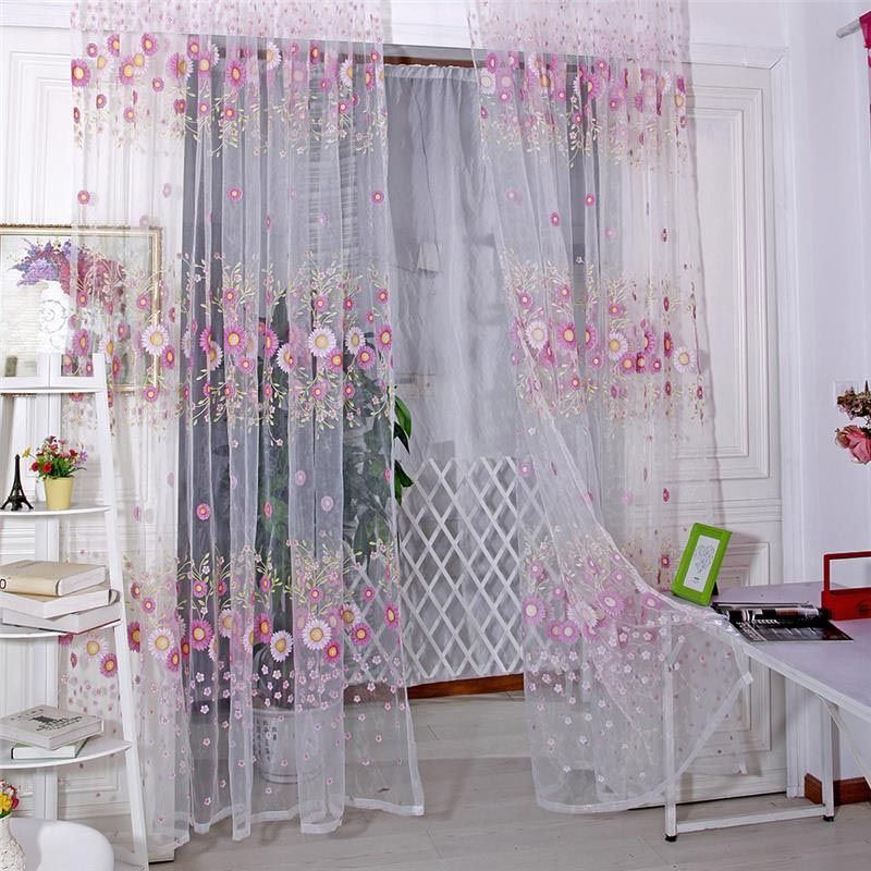 Floral Tulle Voile Door Window Curtain Drape Panel Sheer Scarf Valance DB