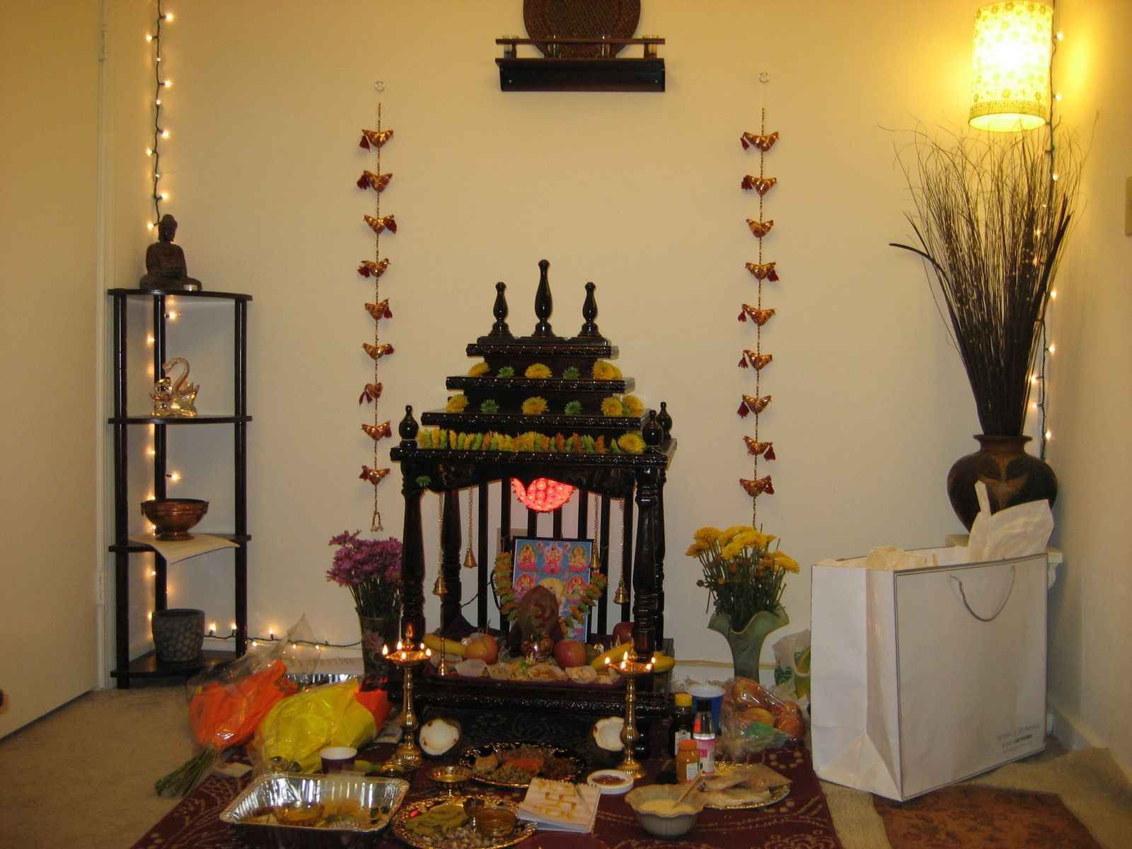 Puja room design home mandir lamps doors vastu idols for Simple diwali home decorations